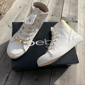 NEW BEBE HIGH TOP Sneaker Gold Shoes